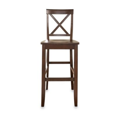 Crosley 30-Inch X-Back Bar Stools in Vintage Mahogany (Set of 2)