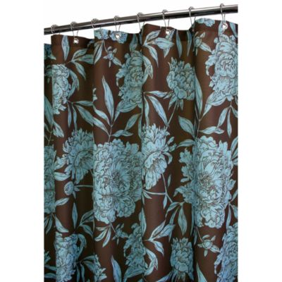 Aqua and Brown Shower Curtain