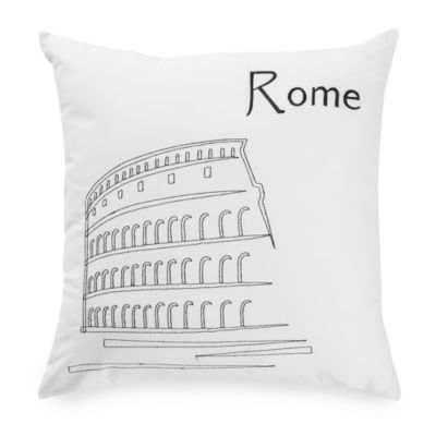 Passport Postcard Rome Square Throw Pillow in Black/White