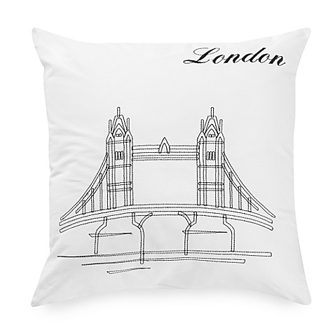 Passport Postcard London Square Throw Pillow in Black/White