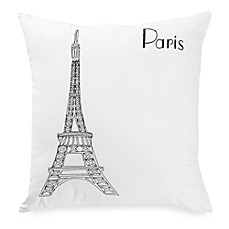 Passport Postcard Paris Square Throw Pillow in Black/White