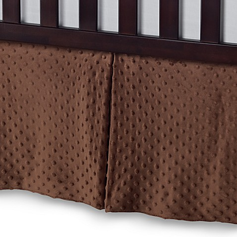 T. L. Care Heavenly Soft Minky Dot Crib Skirt in Chocolate