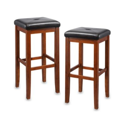 Crosley Upholstered 29-Inch Square Seat Barstools in Classic Cherry (Set of 2)