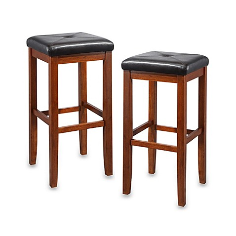 Crosley Upholstered 29 Inch Square Seat Bar Stools In