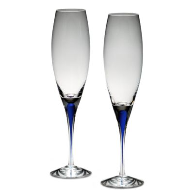 Orrefors Intermezzo Blue 3-Ounce Flutes (Set of 2)