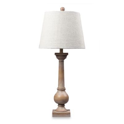 Tall Sun-Bleached Wood Columnar Table Lamp With Linen Shade