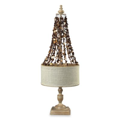 Shell Cascade and Driftwood Table Lamp With Linen Shade
