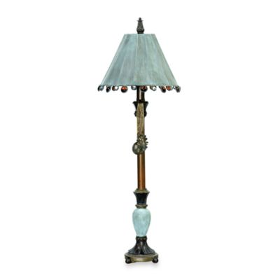 Metal and Composite Rustic Tiffany Candlestick Table Lamp in Brown, Black and Gold