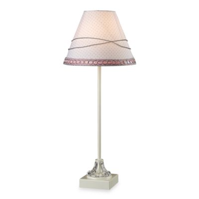 Dimond Lighting Girls Metal Table Lamp with White and Pink Fabric Shade
