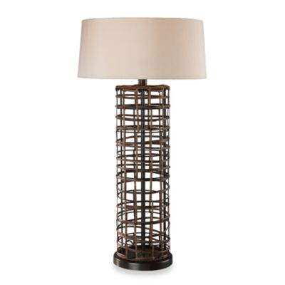 Dimond Lighting Rattan Table Lamp With a Cream Faux Silk Shade