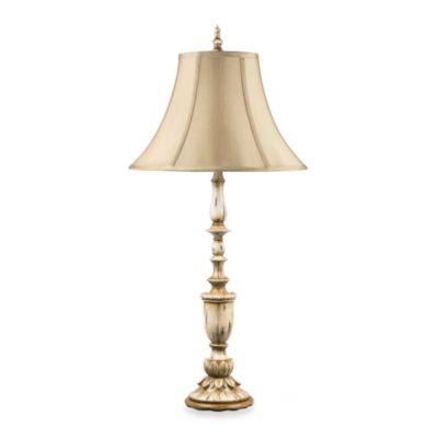 Estrella Candlestick Table Lamp in Ivory and Beige