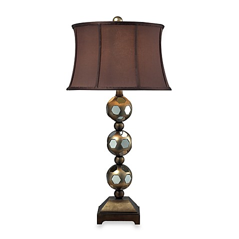 Composite Vassar Table Lamp with Meknes Finish Brown Shade and Cream Liner