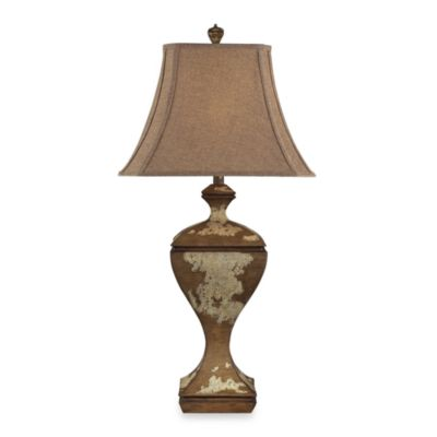 Composite Normande Hill Table Lamp with Genesse Distressed Wood Finish and Burlap Shade