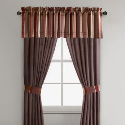 Thompson 84-Inch Window Curtain Panel Pair in Red/Chocolate