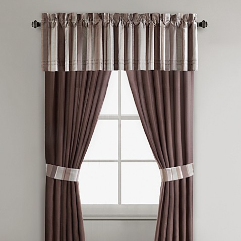 Thompson 84-Inch Window Curtain Panel Pair in Blue/Chocolate