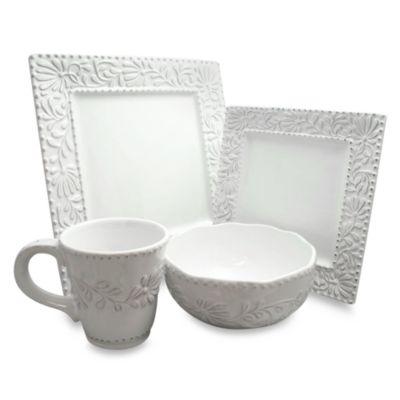 Bianca Leaf 16-Piece Square Dinnerware Set