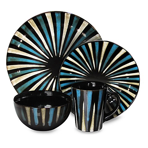 American Atelier 16-Piece Blue Stripes Dinnerware Set