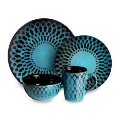 American Atelier 16-Piece Sicily Blue Dinnerware Set