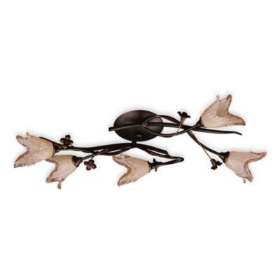 Elk Lighting 5-Light Flush Mount In Aged Bronze with Hand Blown Tulip Glass