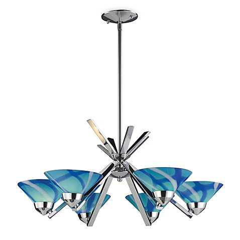 ELK Lighting Refraction 6-Light Chandelier in Carribean Blue