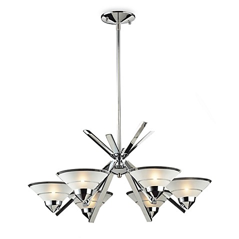 ELK Lighting Refraction 6-Light Chandelier with Clear Etched Glass