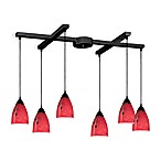 ELK Lighting Classico 6-Light Pendant with Fire Red Glass