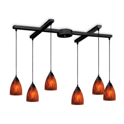 ELK Lighting Classico 6-Light Pendant with Espresso Glass