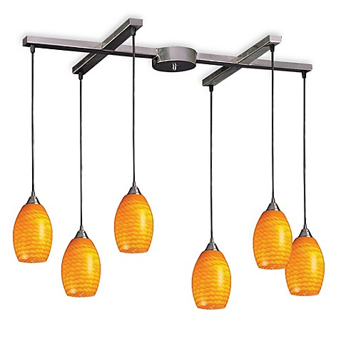 ELK Lighting Mulinello 6-Light Pendant with Canary Glass