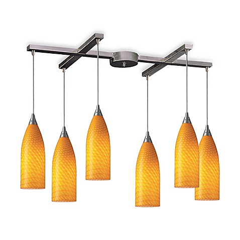 ELK Lighting Cilindro 6-Light Pendant with Canary Glass