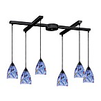ELK Lighting Classico 6-Light Pendant with Starlight Blue Glass