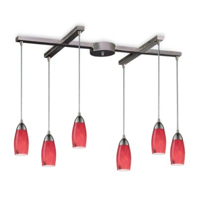 ELK Lighting Milan 6-Light Pendant with Fire Red Glass