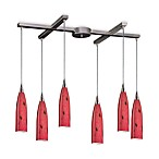 ELK Lighting Lungo 6-Light Pendant with Fire Red Glass