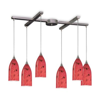 ELK Lighting Verona 6-Light Pendant with Fire Red Glass
