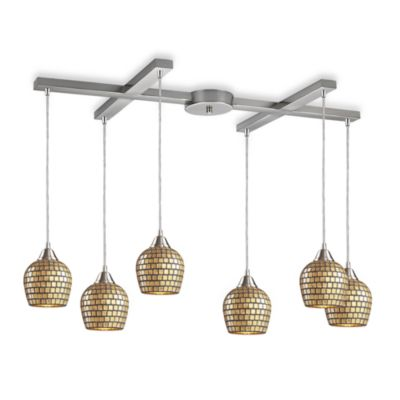 ELK Lighting Fusion 6-Light Pendant with Gold Mosaic Glass