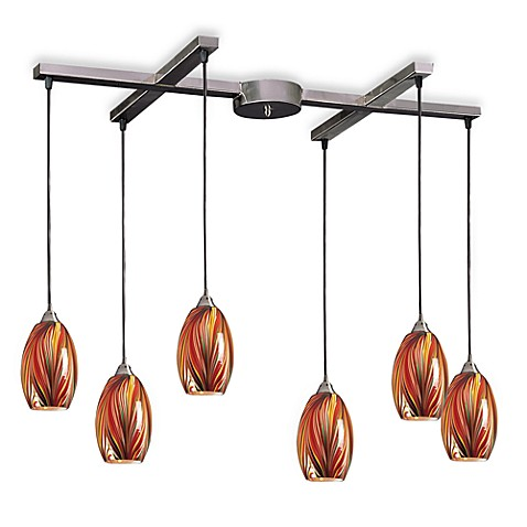 ELK Lighting Mulinello 6-Light Pendant with Multi-Colored Glass