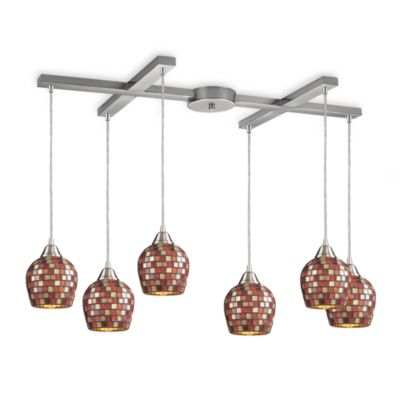 ELK Lighting Fusion 6-Light Pendant with Multi-Colored Mosaic Glass
