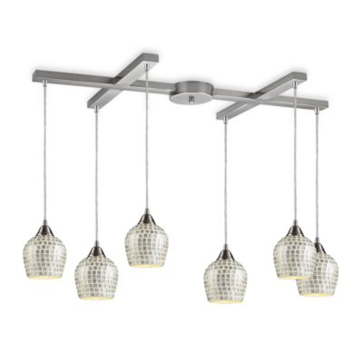 ELK Lighting Fusion 6-Light Pendant with Silver Mosaic Glass