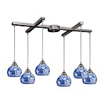 ELK Lighting Mela 6-Light Pendant with Starlight Blue Glass