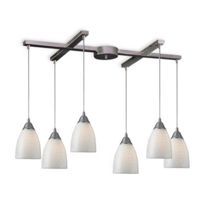 ELK Lighting Arco Baleno 6-Light Pendant with White Swirl Glass
