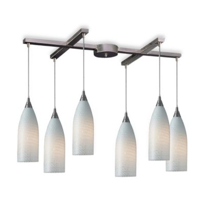 ELK Lighting Cilindro 6-Light Pendant with White Swirl Glass