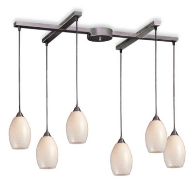 ELK Lighting Mulinello 6-Light Pendant with White Swirl Glass