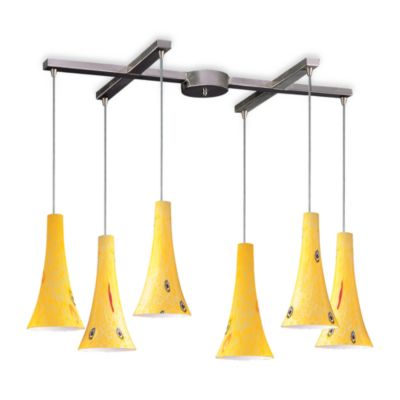 ELK Lighting Tromba 6-Light Pendant with Yellow Blaze Glass