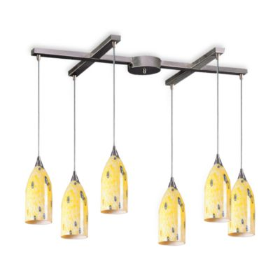 ELK Lighting Verona 6-Light Pendant with Yellow Blaze Glass