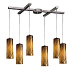 ELK Lighting Maple 6-Light Pendant with Maple Amber Glass