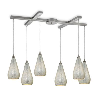 ELK Lighting Curvalo 6-Light Pendant with Silver Crackle