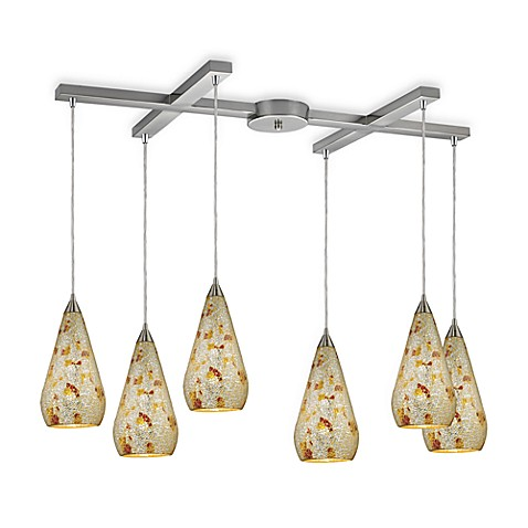 ELK Lighting Curvalo 6-Light Pendant with Silver Multi-Colored Crackle Glass
