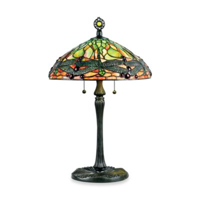 Quoizel Green Dragonfly 2-Light Tiffany Table Lamp