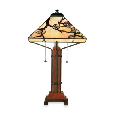 2-Light Wood Table Lamp