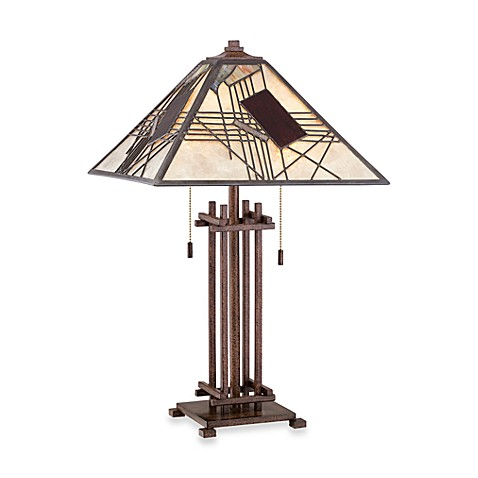 Quoizel®  Russell 2-Light Tiffany Mica Table Lamp