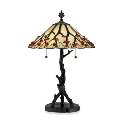 Quoizel® 2-Light Portable Tiffany Whispering Wood Table Lamp